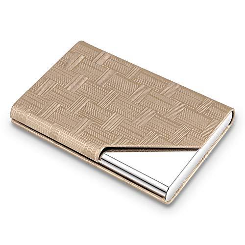 DMFLY Professional Business Card Holder, PU Leather Name Card Holder, Metal Business Card Case, Office Card Case, Slim Pocket Card Holder for Women and Men, Magnetic Closure, Gold- gz