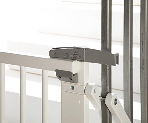 Geuther - Treppenschutzgitter ausziehbar 2733+, für Kinder/Hunde, Schrauben/Klemmen am Geländer, verstellbar, Holz, weiß, 67 - 107 cm, TÜV geprüft - 2