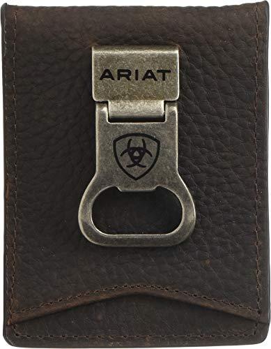 Ariat Ariat Shield Bottle Opener Money Clip Bifold Wallet Brown Rowdy One Size