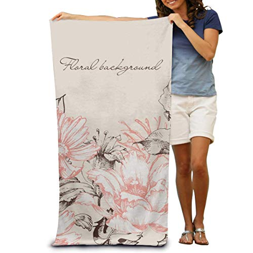 DOKEVFOB Roses And Lily Bouquet Microfiber Beach Towel -Ultra Soft Super Water Absorbent Multi-Purpose Beach Throw Towel Oversized 32' X 51'