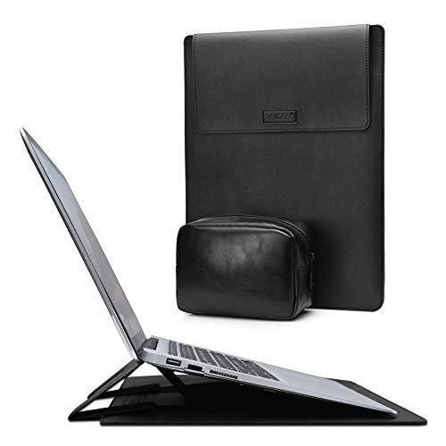 VBIGER 15 Zoll Laptop Hülle 2 in1 Laptop Ständer Laptoptasche Tasche Laptophülle mit 2012-2020 Surface Pro15 A1990/A1707/A1398 MacBook Pro 16 A2141Dell XPS 15 Laptop Sleeve Case Schwarz (Schwarz)