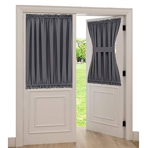 Spring Garden Home Grey French Door Curtains for Privacy Energy Efficient Patio Door Window Drapes Blackout Sidelight Panel Curtain with Tieback, 1 Piece, 54 x 40 inches, Grey