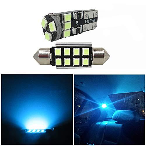 WLJH Lot De 9 Glace Bleue Kit Ampoules IntéRieures Led Kit Ultra Lumineuses Sans Erreur 2835 Puces Pour Jetta Mk4 IV 1999-2005