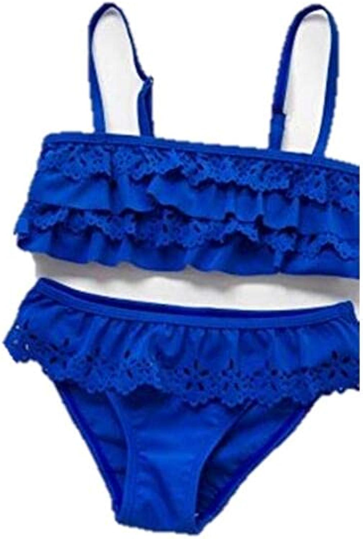 Modern Oasis Girl's Bikini Swimsuits Ruffle Flounce Two Piece Beach Swimwear Tankini Laser Cutout Blue (7-8, Multicoloured)