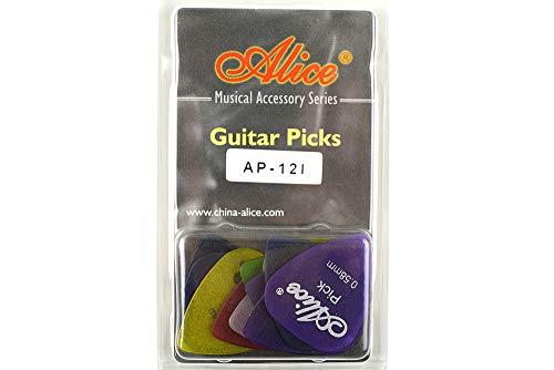 Alice アリス AP-12枚 ABS、ナイロン、セルロイド ギター ピック プレクトラム パック厚さ色混合 透明な包み (AP-12I)