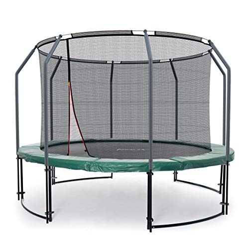 Ampel 24 Deluxe Outdoor Trampolin 366 cm grün komplett mit innenliegendem Netz, Belastbarkeit 160 kg, Sicherheitsnetz mit 8 gepolsterten Stangen