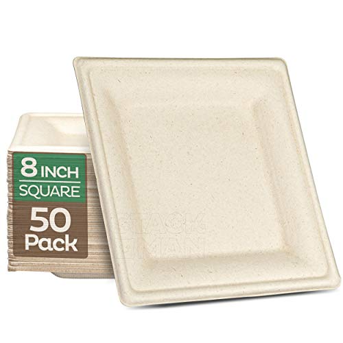 100% Compostable Square Paper Plates [8x8 inch - 50-Pack] Elegant Disposable Plates Heavy-Duty Quality, Natural Bagasse Unbleached, Eco-Friendly Made of Sugar Cane Fibers, 8' Biodegradable Plate