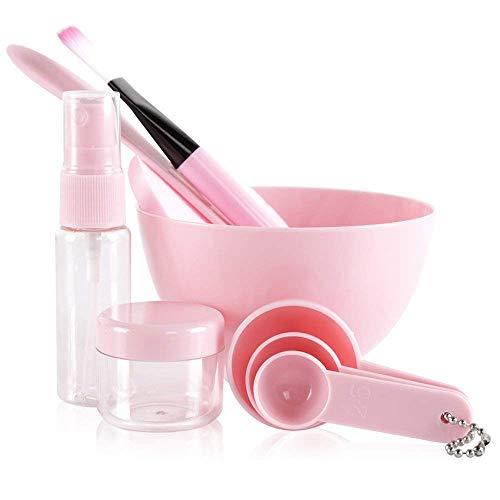 Teenitor 9 in 1 DIY Facial Mask Mixing Bowl (3.95'×2.35') Large Mask Bowl Puff Brush Spatula Gauges Soaking & Spray bottle Ladies Women Face Care Mask Tool Kit Big Bowl Pink