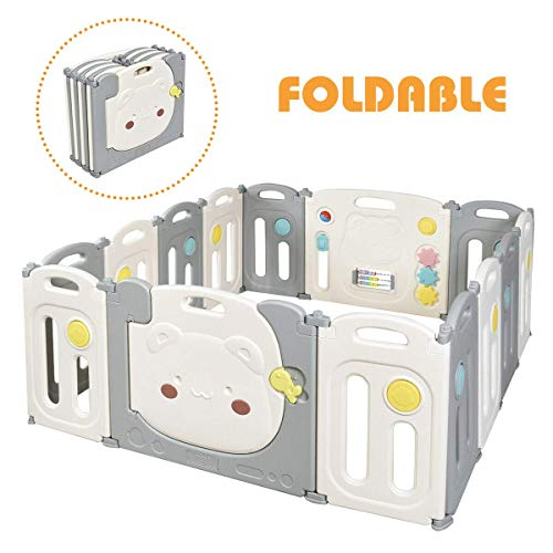 Lowest Price! Costzon Baby Playpen, 14 Panel Foldable Kids Safety Play Fence with Storage Bag, Door ...