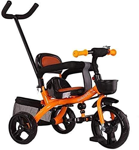 GYF Manija de empuje del triciclo, hoja de seguridad, cesta de almacenamiento, niño de los niños con pedal infantil triciclo niños niños stebevere carro como