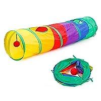 虹のトンネルトンネルブラウン折りたたみ可能な猫のトンネルおもちゃ猫のおもちゃ猫のペット用品を演奏猫のおもちゃペットの猫の猫,虹,115x25cm