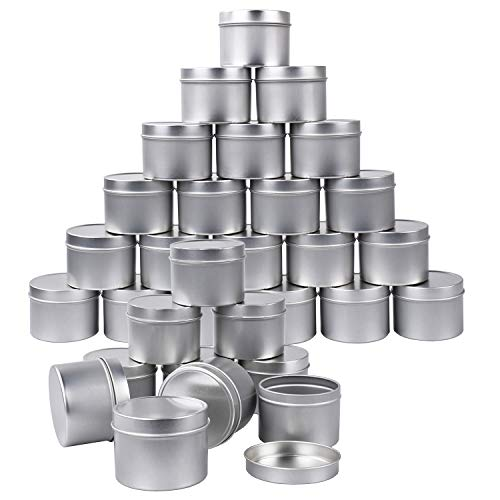 30 latas de metal de 4 onzas para velas, recipientes de almacenamiento para velas, manualidades, almacenamiento (plata)