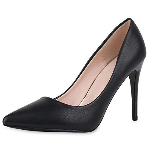 SCARPE VITA Damen Spitze Pumps Klassische Stiletto Schuhe High Heels Absatzschuhe Leder-Optik Partyschuhe 186265 Schwarz 38
