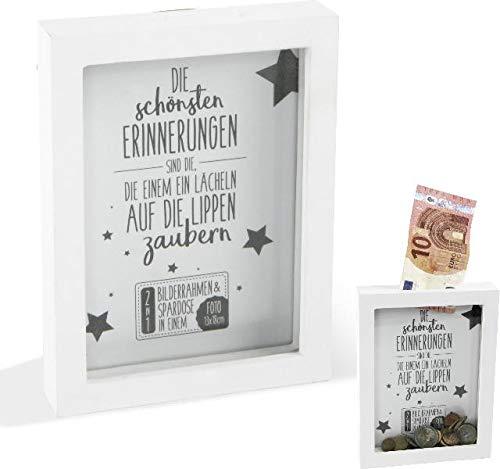 Topshop24you wunderschöne Spardose + Fotorahmen, Holz Rahmen Bilderrahmen 2 in 1 für doe schönsten Errinnerungen