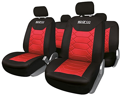 Sparco SPC1016RS Siège Universal Couvre Polyester, Noir/Rouge
