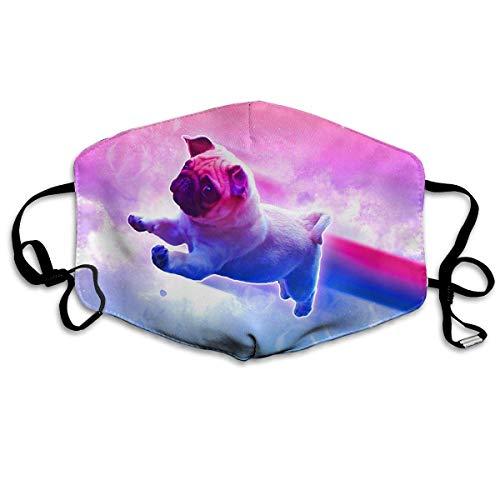 Unisex Print Mond Masker - Winter Cool Wolf Graphics Polyester Anti-Dust Mond-Muffle - Mode Gewassen Herbruikbare Gezichtsmaskers voor Outdoor Fietsen Eén maat Schattig Knuffel met Regenboog
