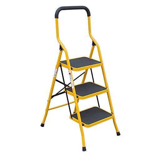 Taburete De Escalera De 2 Escalones De Hierro Amarillo Y Escalera De 3 Escalones, Escaleras De Mano De Plataforma Ancha Escalera De Pasamanos Multifuncional Plegable d(Size:53*64*123CM,Color:Amarillo)
