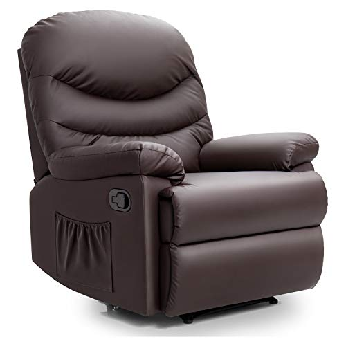 Pawnova PALR201P8 Wing Back PU Leather Massage Recliner Chair, Adjustable Home Theater Seating, Soft Padding Single Sofa for Living Room, Brown
