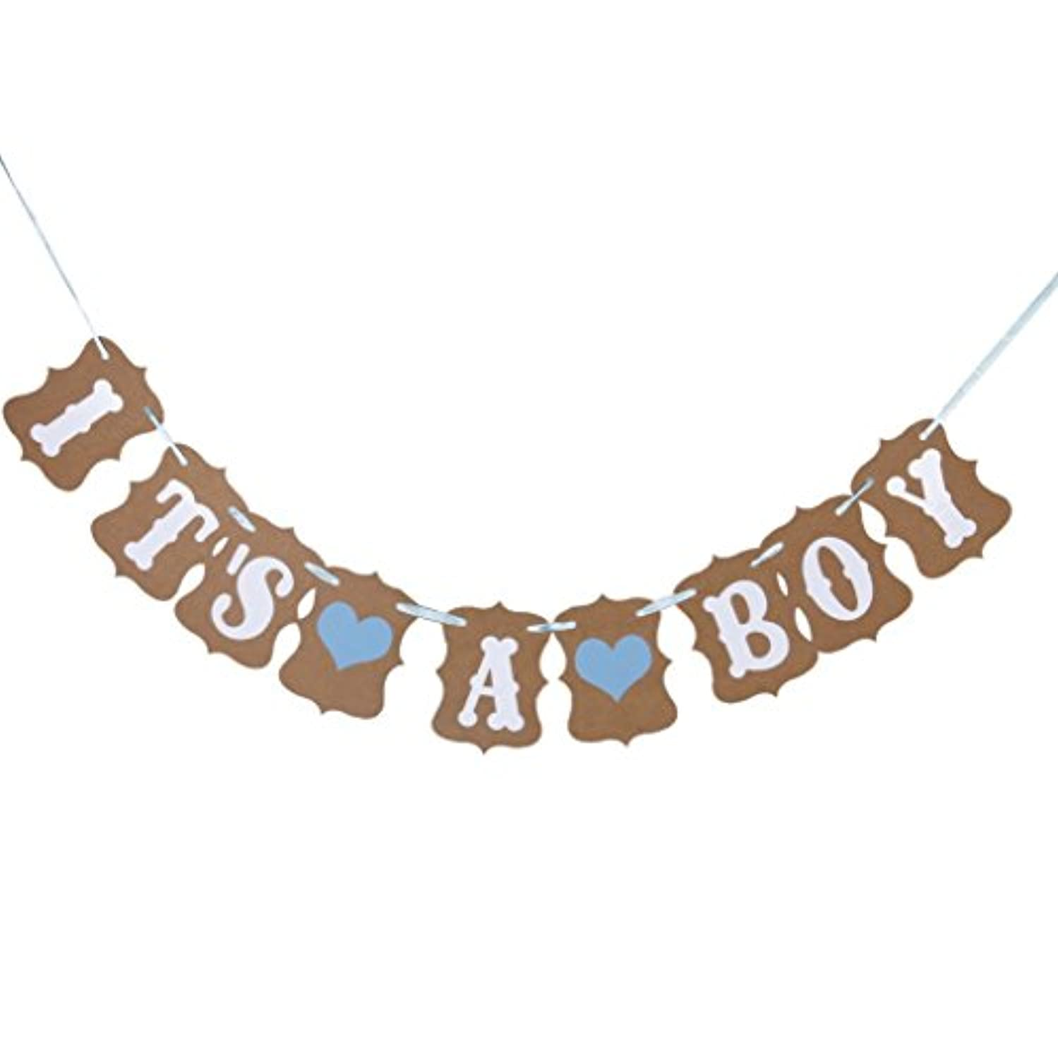 LUTIONS IT IS A BOY Paper Garland Bunting Banner Christening Baby Shower Garland Decoration Birthday Party Favors Photo Prop