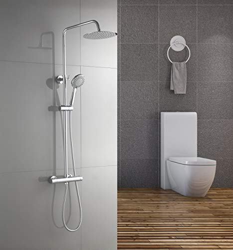 Aurho columna de ducha conjunto de ducha set de ducha tipo columna con termostato, sistema de 5 jets con batidora, altura ajustable para baño - Redonda