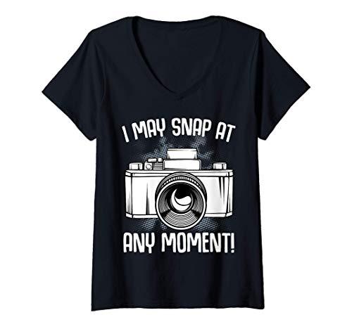 Mujer Puedo tomar en cualquier momento fotos de la cámara Camiseta Cuello V