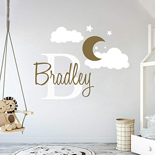 """Custom Name & Initial Moon Clouds Stars - Baby Boy - Nursery Wall Decal For Baby Room Decorations - Mural Wall Decal Sticker For Home Children's Bedroom (MM109) (Wide 32"""" x 24"""" Height)"""
