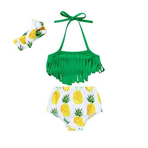 Baby Girl Babies Swimwear Tassels Floral Pinapple Bowknot Swimsuit Bathing Suit Bikini Set Outfits Summer (12-18 Months, Green Tassles top+Pinapple Bottoms Set)
