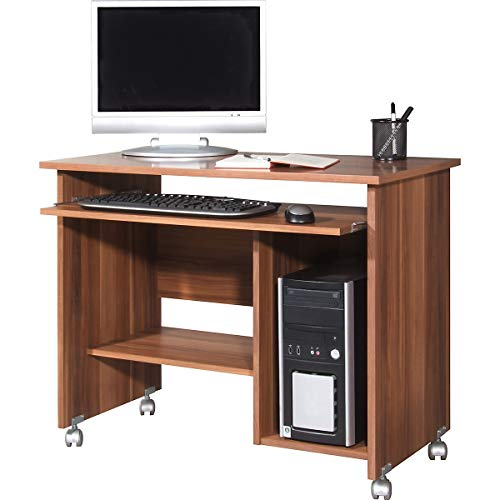 Certeo Computertisch in Walnuss | Arbeitstisch mit Platz für PC-Tower | Mit Tastaturauszug | HxBxT 72 x 90 x 48 cm | Bürotisch Tisch Schreibtisch