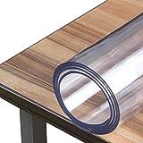 SPEEDSPORTING Glasklar Folie 2 mm dick Tischfolie transparent mit Abgerundete Ecken/Tischdecke wasserdicht Tischschutz PVC Folie Schutzfolie - Schutztischdecke Tischschutzfolie (90x160cm) - 2