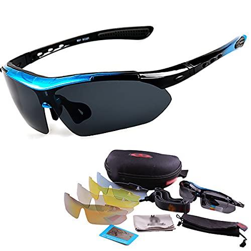 YJSJ Gafas Deportivas Fotocromáticas 5 Lentes Gafas De Sol Polarizadas Al Aire Libre Hombres Gafas De Montar En Bicicleta Mujeres Protección MTB Gafas De Ciclismo Gafas UV400(Color:Azul)