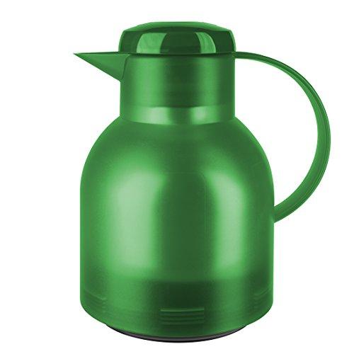 Emsa Samba Isolierkanne 509818 | 1 Liter | Quick Press Verschluss | 100% dicht | 12h heiß, 24h kalt | Grasgrün Transluzent