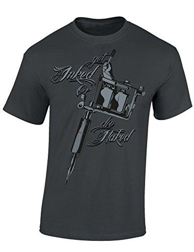 Baddery Get Inked or Die Naked- Tattoo T-Shirt Als Geschenk für Alle mit Tätowierungen - Geschenkidee, Mausgrau, L