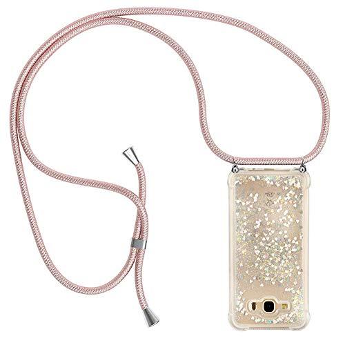 Ptny Case Funda Colgante movil con Cuerda para Colgar Samsung Galaxy J7 2016 Carcasa Correa Transparente de TPU con Cordon para Llevar en el Cuello con Ajustable Collar Cadena Cordón en Oro Rosa