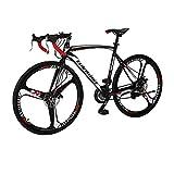 Road Bike XC550 Outdoors Cycling Road Bike 700C 3-Spokes Wheels Dual disc Brake 21-Speeds Road Bikes Black/White 54K