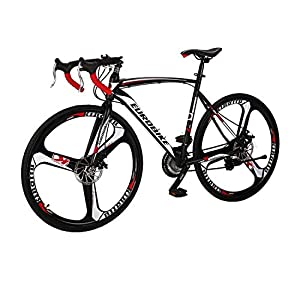 Road Bikes LZBIKE Road Bikes XC550 Steel frame road bike Front and rear disc brake road bike 21 speed