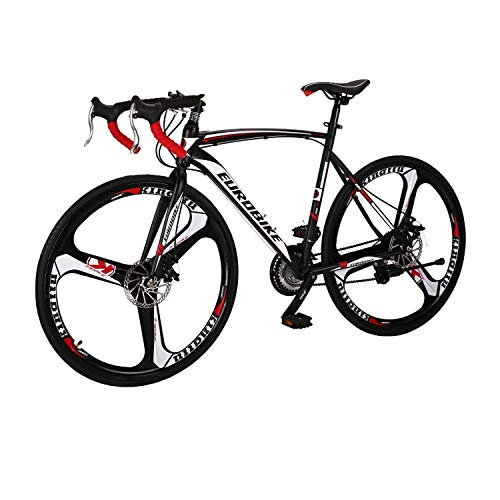Road Bike LZ-550 Steel Bicycle 3 Spoke Wheels disc Brake 21 Speed Road Bike Black/White...