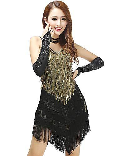 Grouptap Womens Oro Flapper Gatsby Paillettes Nappa Sala da Ballo Fionda Gonna e Salsa Latino Tango Samba cha cha Rumba Vestito (Oro e Nero, EU 32-38)