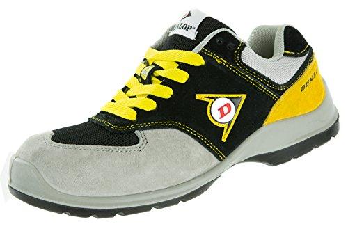 Dunlop Flying Arrow Sicherheitsschuh S3 | Arbeitsschuh S3 mit Zehenkappe | Sportlich & Atmungsaktiv, Schwarz-Grau-Gelb, Größe 44 + ACE Schuhbeutel