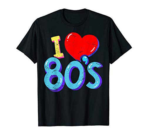 I Love 80s T-shirt, available in many colours for men and women. S to 3XL