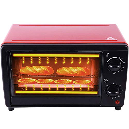 KAUTO Four électrique Multifonction, Mini Four à Poulet friteuse à air Domestique 12L, Mini Four à gâteau à Haute température avec ustensiles de Cuisson et Grille Rouge