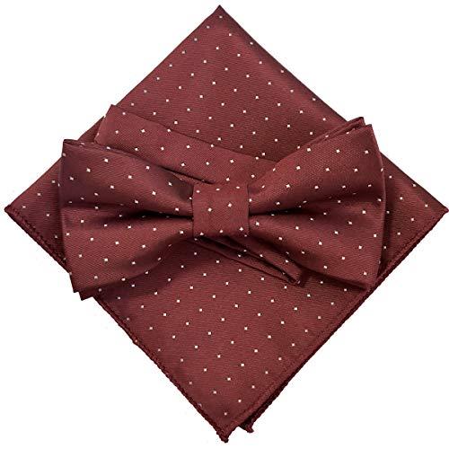 ドット(小) レッド【蝶ネクタイ&ポケットチーフ】2点セット メンズ ワンタッチ カジュアル フォーマル 赤