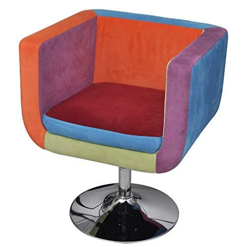 vidaXL Sedia poltrona poltroncina soggiorno cubo rappezzatura altezza regolabile