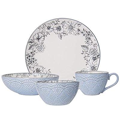 Pfaltzgraff Gabriela Gray 16-Piece Stoneware Dinnerware Set, Service for 4 - 5216945,Gabriela Grey