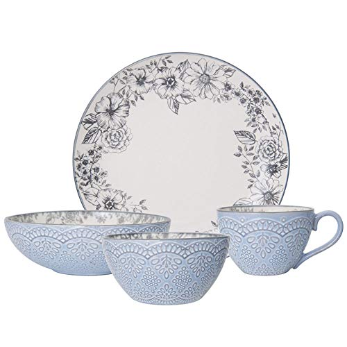Pfaltzgraff Gabriela Gray 16-Piece Stoneware Dinnerware Set, Service for 4 - ,Gabriela Grey