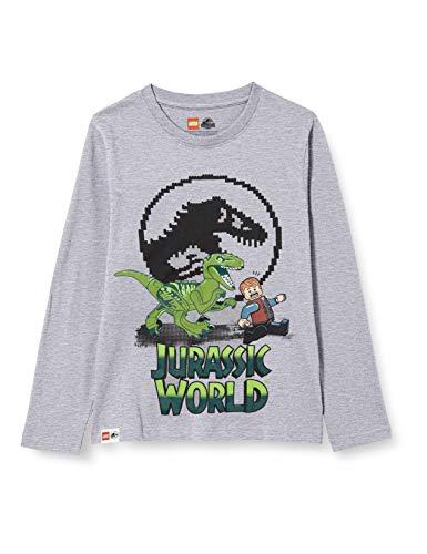 LEGO Wear MW-Langarmshirt Jurassic World Camiseta, 921 Grey Melange, 104 para Niños