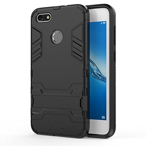 Cover Huawei Y6 Pro 2017,SMTR Dual Layer Custodia ibrida Rigida Morbido Armatura resistente agli urti con Supporto e asportabile di protezione per Huawei Y6 Pro 2017 ,Nero