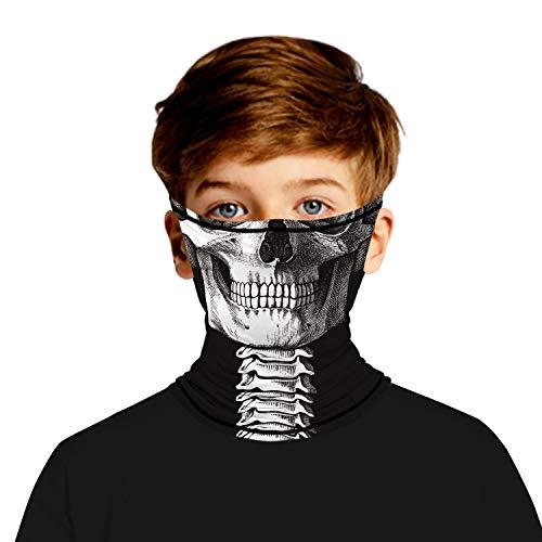 Ainuno Skull Mask for Kids,Kid Skull Bandana Mask for Boys Girls Face Bandana Skeleton Printed Cool Neck Gaiter for Cold Weather Summer Outdoor Halloween Costume,Skull 11-14 Years