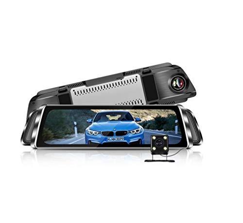 Double Dash Cams avec écran de 10 pouces, Stream Media rétroviseur lecteur enregistreur de route 1080p flux multimédia de recul vidéo HD, G-Sensor