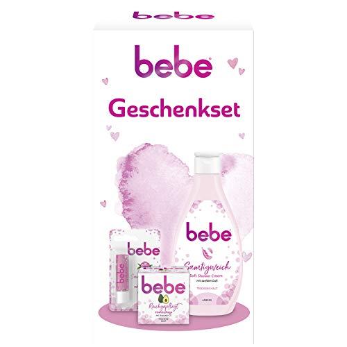 bebe Geschenkset mit Soft Shower Cream, Intensivpflege Creme und Zartrosé Lippenpflege Stift, Pflege Set für trockene Haut, 3-teilig