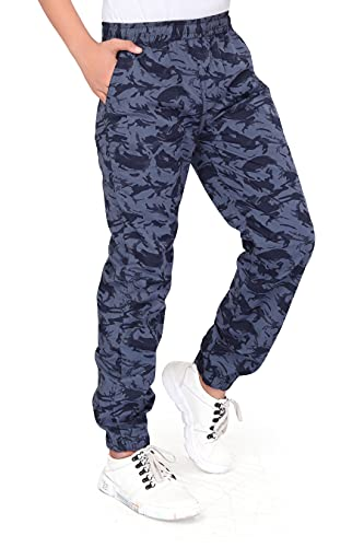 UNOseven Boys Cotton Printed Tapered fit Jogger Fashion Pants Grey Camoflauge for 10-16 Years